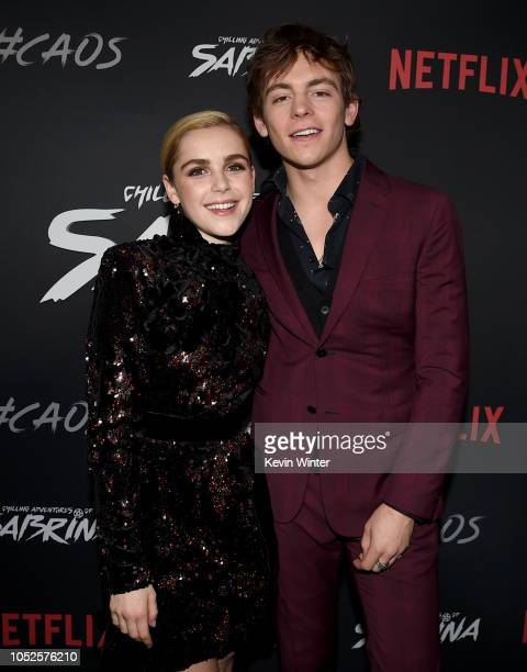 Kiernan Shipka and Ross Lynch arrive at the premiere of Netflix's Chilling Adventures Of Sabrina at the Hollywood Athletic Club on October 19 2018 in...