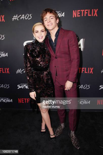 Kiernan Shipka and Ross Lynch attend Netflix Original Series Chilling Adventures of Sabrina red carpet and premiere event on October 19 2018 in Los...