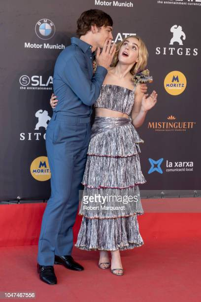 Kiernan Shipka and Ross Lynch attend the red carpet photocall of Netflix's 'Chilling Adventures of Sabrina' at Auditorio Melia on October 7 2018 in...