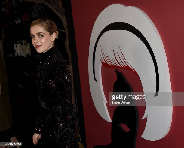 Kiernan Shipka arrives at the premiere of Netflix's Chilling Adventures Of Sabrina at the Hollywood Athletic Club on October 19 2018 in Los Angeles...