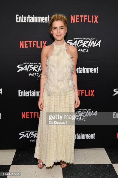 Kiernan Shipka attends a screening of the Chilling Adventures of Sabrina Part 2 hosted by Entertainment Weekly and Netflix at the Roxy Hotel on April...