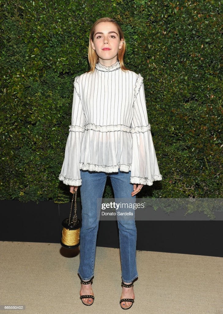 Kiernan Shipka attends Caroline De Maigret and Pharrell Williams dinner in celebration of CHANEL's Gabrielle Bag at Giorgio Baldi on April 6, 2017 in Santa Monica, California.