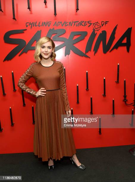 Kiernan Shipka attends Netflix's The Chilling Adventures of Sabrina QA and Reception at the Pacific Design Center on March 17 2019 in West Hollywood...