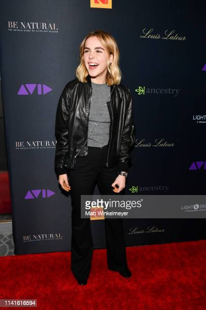 "Kiernan Shipka attends the premiere of ""Be Natural: The Untold Story of Alice Guy-Blaché at Harmony Gold Theater on April 09, 2019 in Los Angeles,..."