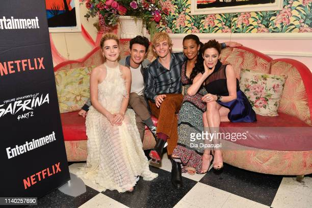 Kiernan Shipka Gavin Leatherwood Ross Lynch Jaz Sinclair and Michelle Gomez attend a screening of the Chilling Adventures of Sabrina Part 2 hosted by...