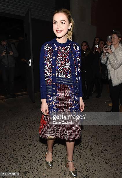 Kiernan Shipka is seen outside the Marc Jacobs show during New York Fashion Week Women's Fall/Winter 2016 on February 18 2016 in New York City