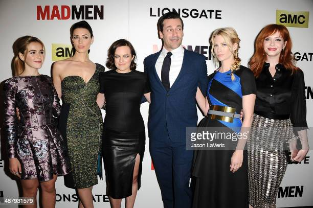 Kiernan Shipka Jessica Pare Elisabeth Moss Jon Hamm January Jones and Christina Hendricks attend the season 7 premiere of Mad Men at ArcLight Cinemas...