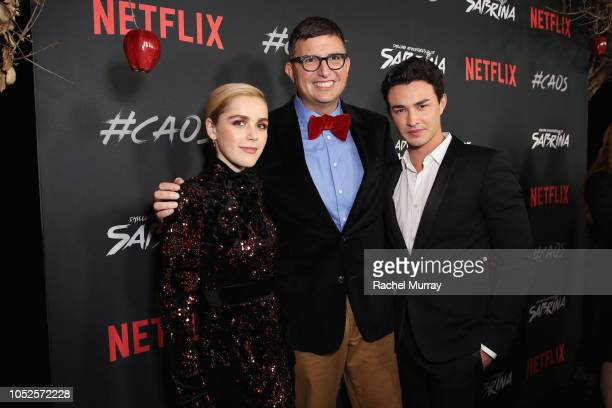 Kiernan Shipka Roberto AguirreSacasa and Gavin Leatherwood attend Netflix Original Series Chilling Adventures of Sabrina red carpet and premiere...