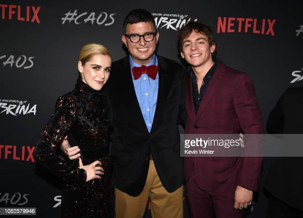 Kiernan Shipka Roberto AguirreSacasa and Ross Lynch arrive at the premiere of Netflix's Chilling Adventures Of Sabrina at the Hollywood Athletic Club...