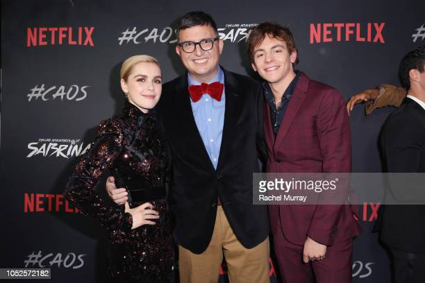 Kiernan Shipka Roberto AguirreSacasa and Ross Lynch attend Netflix Original Series Chilling Adventures of Sabrina red carpet and premiere event on...