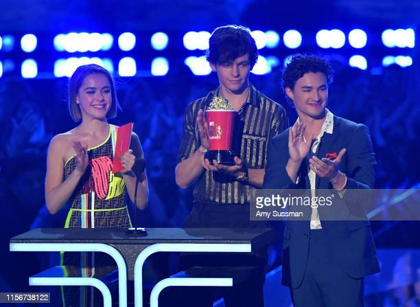 Kiernan Shipka Ross Lynch and Gavin Leatherwood present onstage during the 2019 MTV Movie and TV Awards at Barker Hangar on June 15 2019 in Santa...