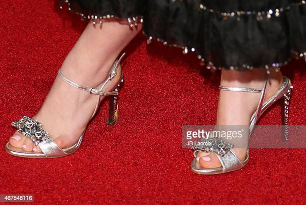 Kiernan Shipka shoe detail attends the AMC celebration of the final 7 episodes of 'Mad Men' with the Black Red Ball at the Dorothy Chandler Pavilion...
