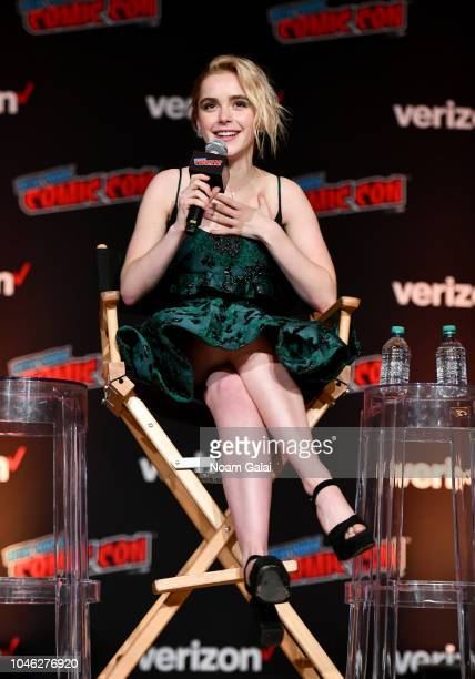 Kiernan Shipka speaks onstage at the Netflix Chills panel during New York Comic Con 2018 at Jacob K Javits Convention Center on October 5 2018 in New...