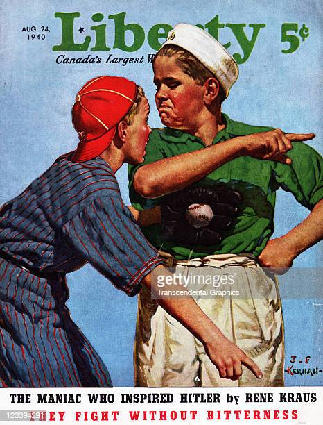 Kiernan's painting of a comical sandlot baseball scene was a Liberty magazine cover image for the August 24 1940 issue published in Toronto