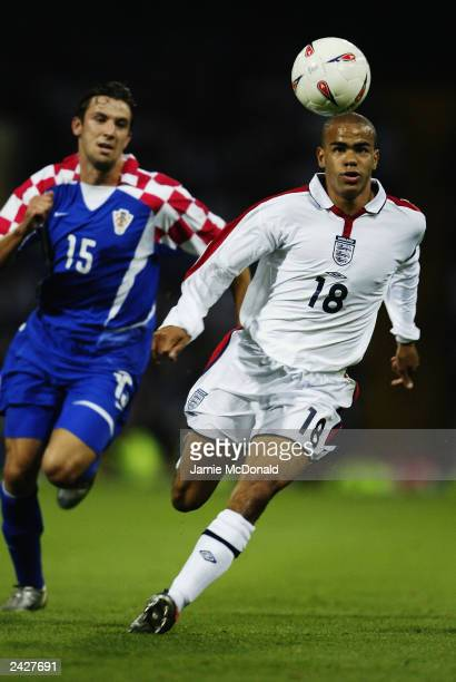 Kieron Dyer of England makes a break forward during the International Friendly match between England and Croatia held on August 20 2003 at Portman...