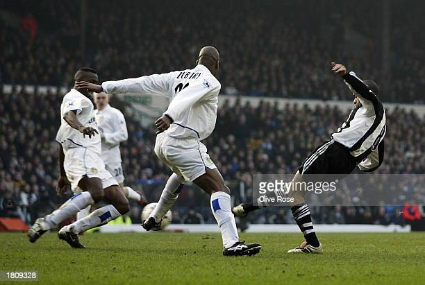 Kieron Dyer of Newcastle scores the second goal during the Leeds United v Newcastle United FA Barclaycard Premiership match at Elland Road on...
