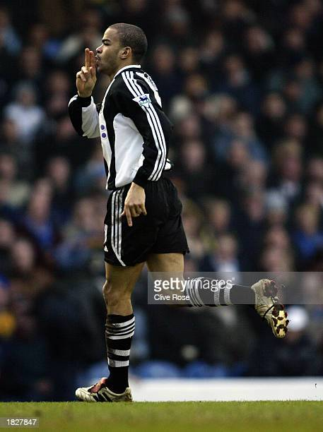 Kieron Dyer of Newcastle United celebrates scoring his second goal during the FA Barclaycard Premiership match between Leeds United and Newcastle...