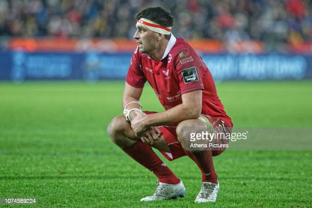 Kieron Fonotia of the Scarlets in action during the Guinness Pro14 Round 11 match between the Ospreys and the Scarlets at the Liberty Stadium on...