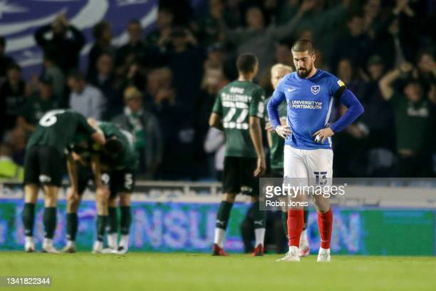 Kieron Freeman of Portsmouth FC after Ryan Hardie of Plymouth Argyle had scored a goal to make it 2-1 during the Sky Bet League One match between...