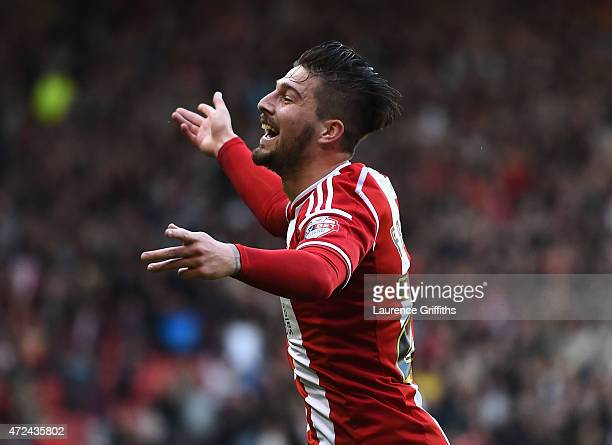 Kieron Freeman of Sheffield United celebrates scoring the opening goal during the Sky Bet League One playoff semi final match between Sheffield...