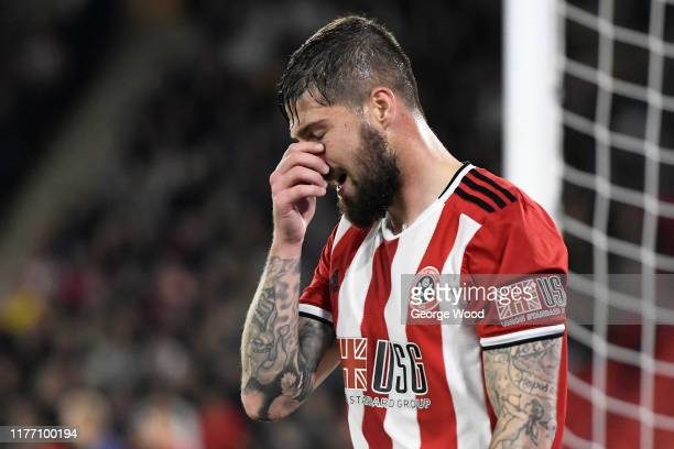 Kieron Freeman of Sheffield United reacts during the Carabao Cup Third Round match between Sheffield United and Sunderland at Bramall Lane on...