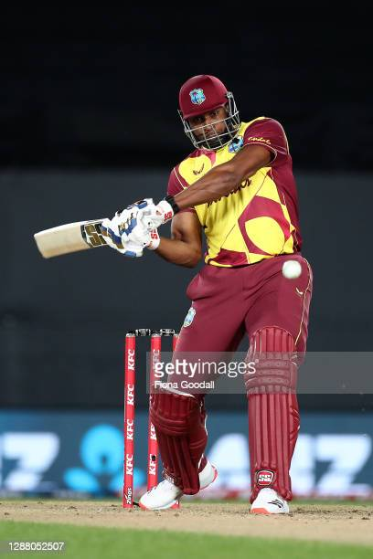 Kieron Pollard, captain of the West Indies makes a shot during game one of the International T20 series between New Zealand and the West Indies at...