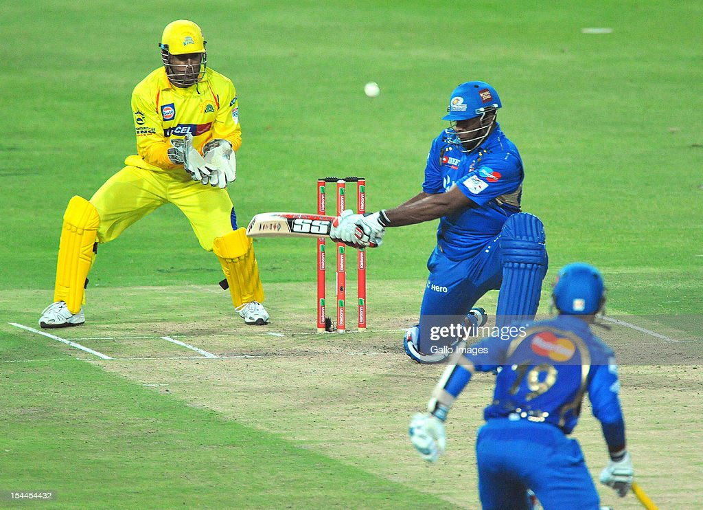Kieron Pollard of Mumbai reverse sweeps a delivery during the Karbonn Smart CLT20 match between Chennai Super Kings and Mumbai Indians at Bidvest Wanderers Stadium on October 20, 2012 in Johannesburg, South Africa.