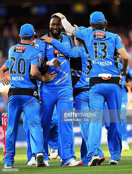 Kieron Pollard of the Adelaide Strikers reacrts after taking a wicket during the Big Bash League match between the Adelaide Strikers and Brisbane...