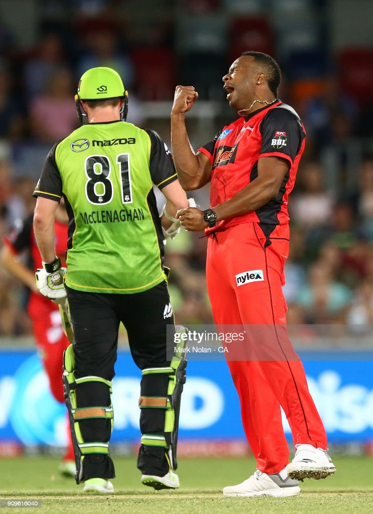 Kieron Pollard of the Renegades celebrates taking the final wicket during the Big Bash League match between the Sydney Thunder and the Melbourne Renegades at Manuka Oval on January 24, 2018 in Canberra, Australia.