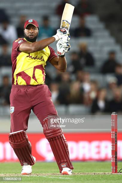 Kieron Pollard of the West Indies bats during game one of the International T20 series between New Zealand and the West Indies at Eden Park on...