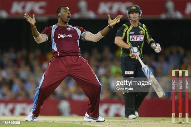 Kieron Pollard of the West Indies celebrates after dismissing Brad Haddin of Australia during the International Twenty20 match between Australia and...