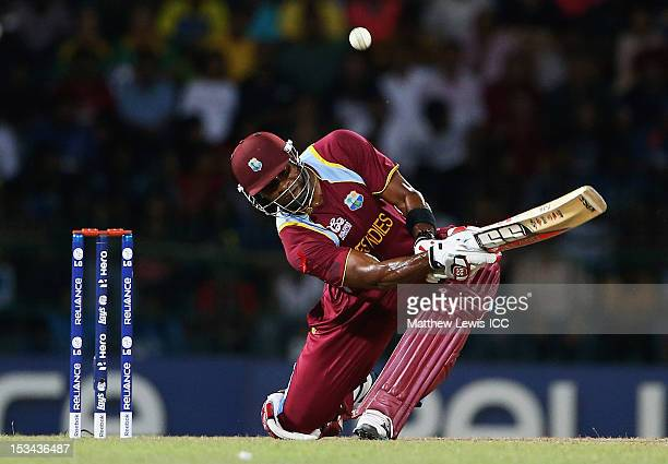 Kieron Pollard of the West Indies hits a four during the ICC World Twenty20 2012 Semi Final match between Australia and West Indies at R Premadasa...