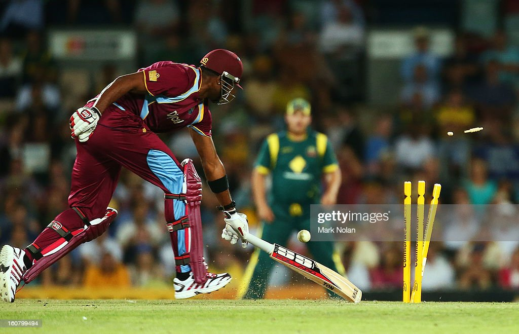 Kieron Pollard of the West Indies is run out during the Commonwealth Bank One Day International Series between Australia and the West Indies at Manuka Oval on February 6, 2013 in Canberra, Australia.