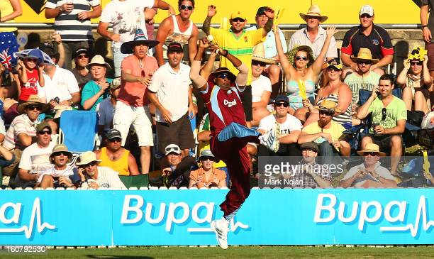 Kieron Pollard of the West Indies takes a catch to dismiss George Bailey of Australia during the Commonwealth Bank One Day International Series...
