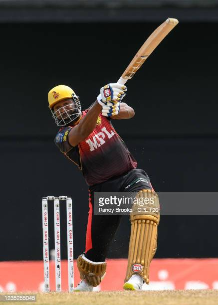 Kieron Pollard of Trinbago Knight Riders hits 6 during the 2021 Hero Caribbean Premier League Play-Off match 31 between Saint Lucia Kings and...