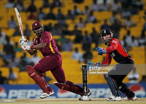 Kieron Pollard of West Indies bats as Matt Prior of England keeps wicket during the Group B ICC World Cup match between England and West Indies at M...
