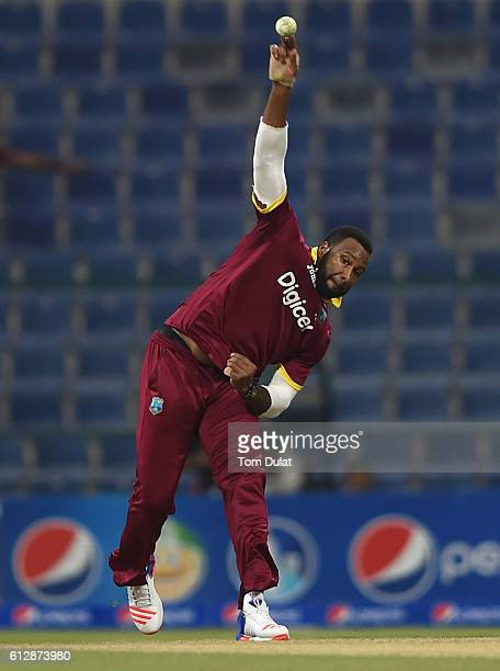 Kieron Pollard of West Indies bats during the third One Day International match between Pakistan and West Indies at Zayed Cricket Stadium on October...
