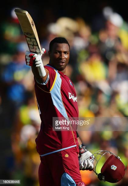 Kieron Pollard of West Indies celebrates scoring a century during game four of the Commonwealth Bank One Day International Series between Australia...