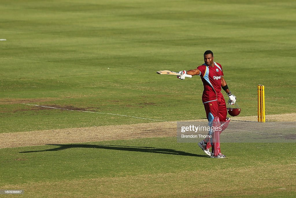 Kieron Pollard of West Indies celebrates scoring his century during game four of the Commonwealth Bank One Day International Series between Australia and the West Indies at Sydney Cricket Ground on February 8, 2013 in Sydney, Australia.