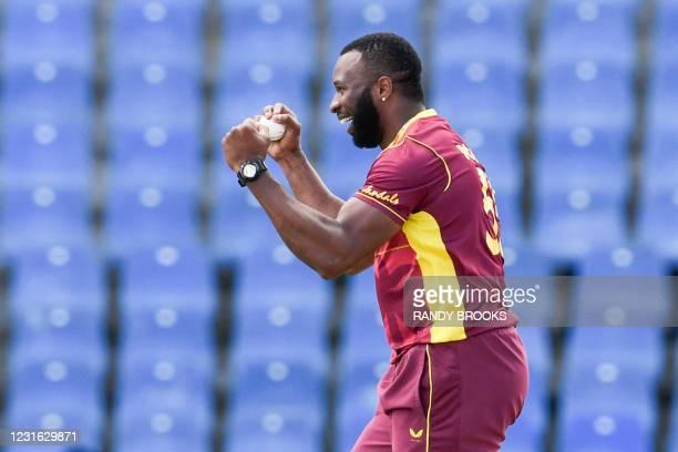 Kieron Pollard of West Indies celebrates the dismissal of Angelo Mathews of Sri Lanka during the 1st ODI match between West Indies and Sri Lanka at...