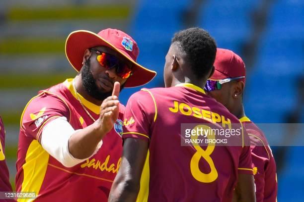 Kieron Pollard of West Indies celebrates the dismissal of Pathum Nissanka of Sri Lanka during the 1st ODI match between West Indies and Sri Lanka at...