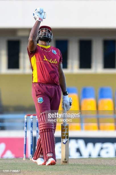 Kieron Pollard of West Indies celebrates winning the 3rd and final ODI match between West Indies and Sri Lanka at Vivian Richards Cricket Stadium in...