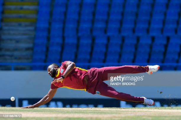 Kieron Pollard of West Indies fields during the 2nd ODI match between West Indies and Sri Lanka at Vivian Richards Cricket Stadium in North Sound,...