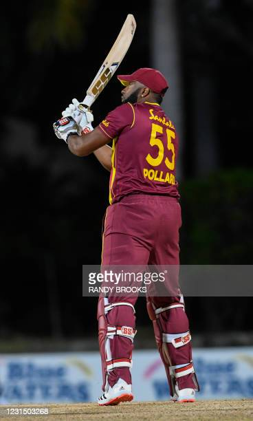 Kieron Pollard of West Indies hitting 6 sixes off Akila Dananjaya of Sri Lanka during a T20i match between Sri Lanka and West Indies at Coolidge...