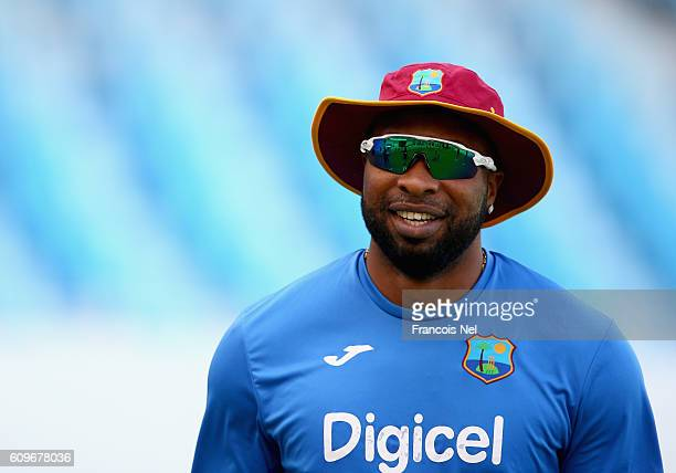Kieron Pollard of West Indies looks on during a nets session at Dubai Cricket Stadium on September 22 2016 in Dubai United Arab Emirates