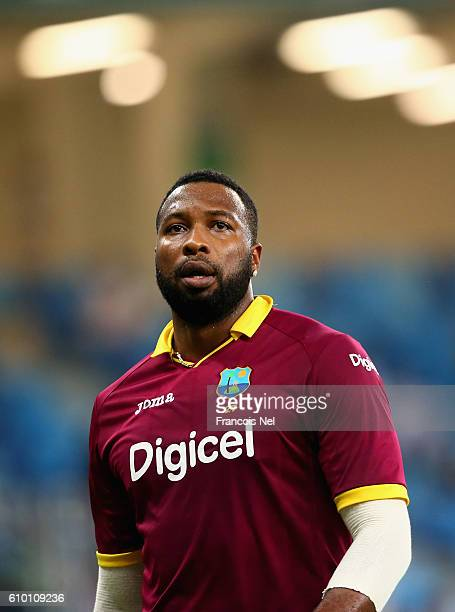 Kieron Pollard of West Indies looks on during the second T20 International match between Pakistan and West Indies at Dubai International Cricket...