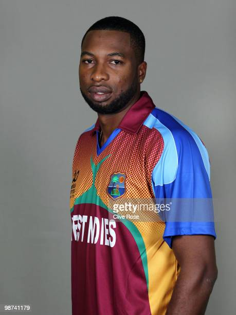 Kieron Pollard of West Indies poses during a portrait session ahead of the ICC T20 World Cup at the Pegasus Hotel on April 26 2010 in Georgetown...