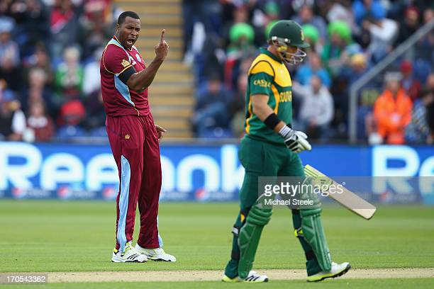 CARDIFF WALES JUNE Kieron Pollard of West Indies sends Colin Ingram of South Africa after capturing his wicket during the ICC Champions Trophy Group...