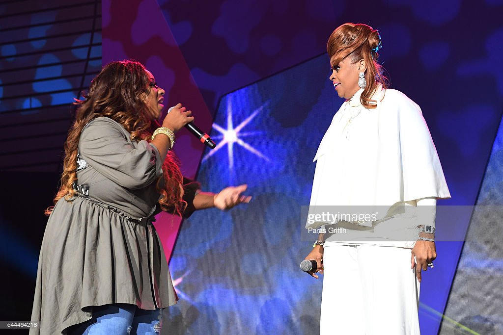 Kierra Sheard and Karen Clark Sheard perform onstage during the Tribute Finale at the 2016 ESSENCE Festival Presented By Coca-Cola at Ernest N. Morial Convention Center on July 3, 2016 in New Orleans, Louisiana.