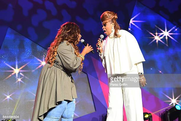 Kierra Sheard and Karen Clark Sheard perform onstage during the Tribute Finale at the 2016 ESSENCE Festival Presented By CocaCola at Ernest N Morial...